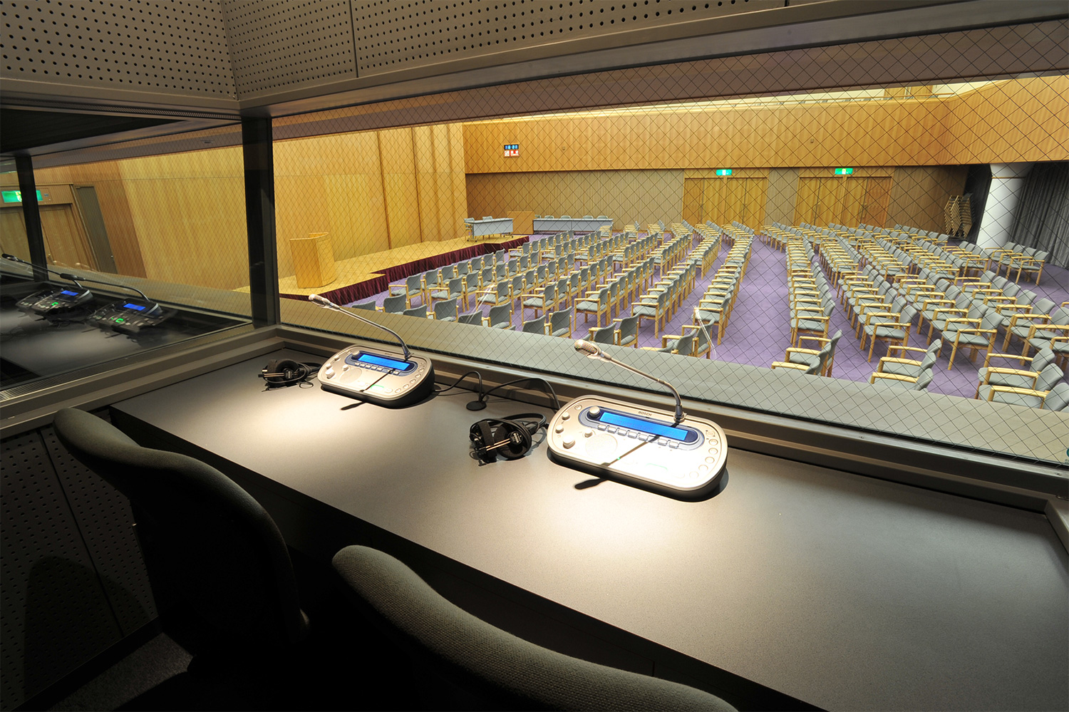 Photo of simultaneous interpretation room