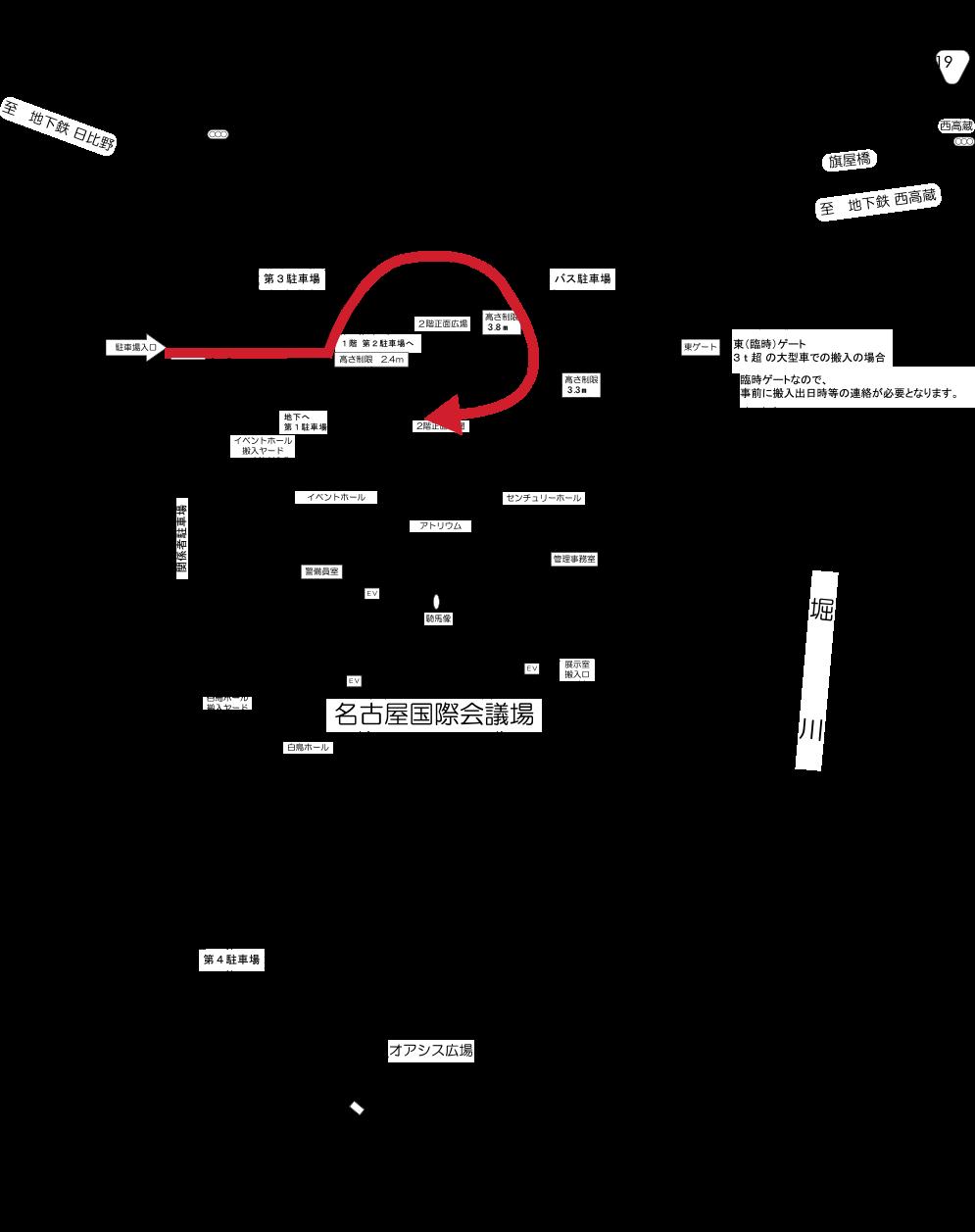センチュリーホール搬入口の経路イメージ