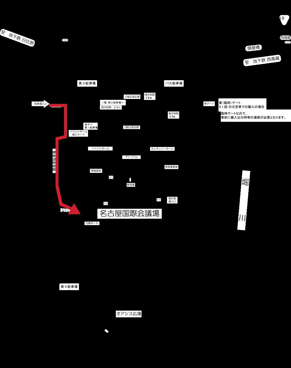 4号館搬入口の経路イメージ