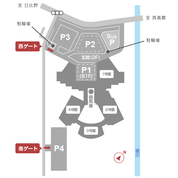 名古屋国際会議場内の駐車場・駐輪場は西ゲートを入るとP1からP3、南ゲートを入るとP4